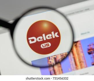 Milan, Italy - August 10, 2017: Delek US Holdings logo on the website homepage.