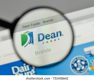 Milan, Italy - August 10, 2017: Dean Foods logo on the website homepage.