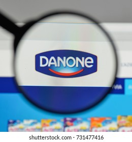 Milan, Italy - August 10, 2017: Danone logo on the website homepage.