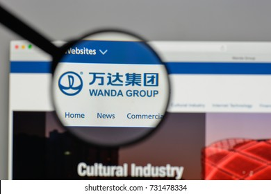 Milan, Italy - August 10, 2017: Dalian Wanda Group logo on the website homepage.