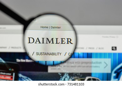 Milan, Italy - August 10, 2017: Daimler logo on the website homepage.