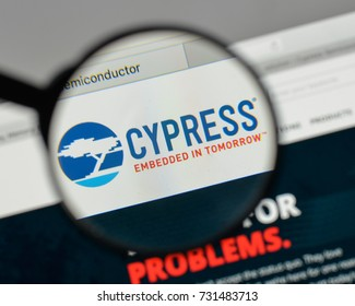 Milan, Italy - August 10, 2017: Cypress Semiconductor logo on the website homepage.