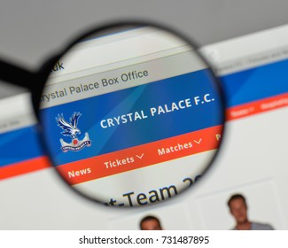 Milan, Italy - August 10, 2017: Crystal Palace logo on the website homepage.