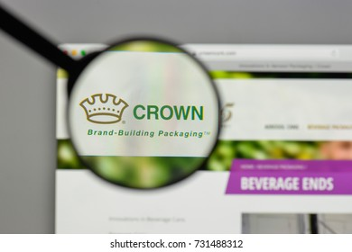 Milan, Italy - August 10, 2017: Crown Holdings logo on the website homepage.