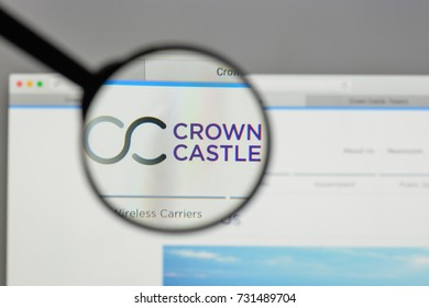 Milan, Italy - August 10, 2017: Crown Castle International logo on the website homepage.