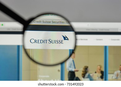 Milan, Italy - August 10, 2017: Credit Suisse logo on the website homepage.