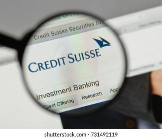 Milan, Italy - August 10, 2017: Credit Suisse logo on the website homepage.