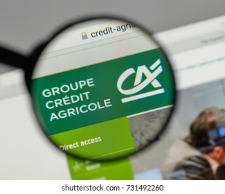 Milan, Italy - August 10, 2017: Credit Agricole logo on the website homepage.