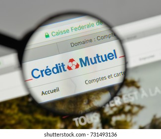 Milan, Italy - August 10, 2017: Credit Mutuel logo on the website homepage.