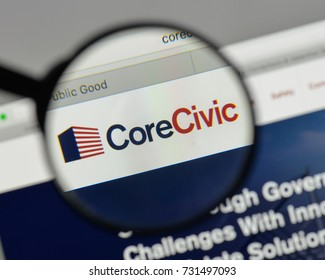 Milan, Italy - August 10, 2017: Core Civic logo on the website homepage.