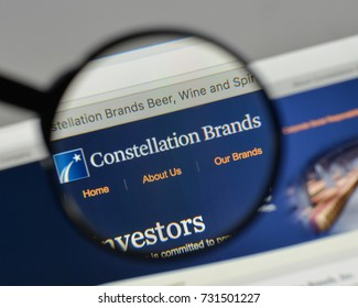 Milan, Italy - August 10, 2017: Constellation Brands logo on the website homepage.