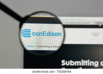 Milan, Italy - August 10, 2017: Consolidated Edison logo on the website homepage.