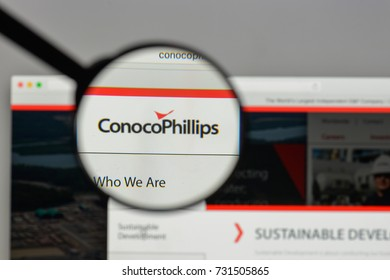 Milan, Italy - August 10, 2017: Conoco Phillips logo on the website homepage.