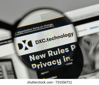 Milan, Italy - August 10, 2017: Computer Sciences, dxc logo on the website homepage.