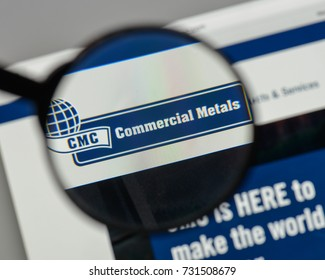 Milan, Italy - August 10, 2017: CommercialMetals logo on the website homepage.