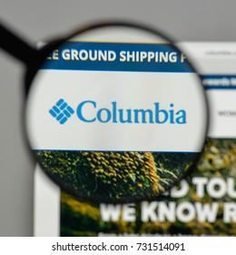 Milan, Italy - August 10, 2017: ColumbiaSportswear logo on the website homepage.