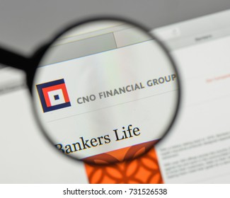 Milan, Italy - August 10, 2017: CNO Financial Group logo on the website homepage.