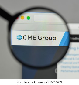 Milan, Italy - August 10, 2017: CME Group logo on the website homepage.