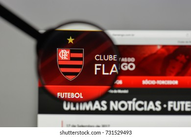 Milan, Italy - August 10, 2017: Clube Regatas Flamengo logo on the website homepage.