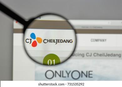 Milan, Italy - August 10, 2017: CJ Cheiljedang logo on the website homepage.