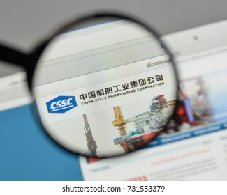 Milan, Italy - August 10, 2017: China State Ship building logo on the website homepage.