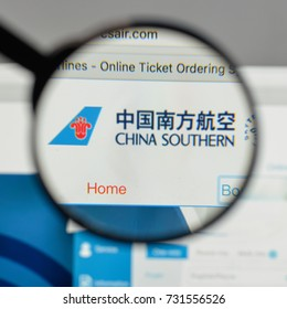 Milan, Italy - August 10, 2017: China Southern Airlines logo on the website homepage.