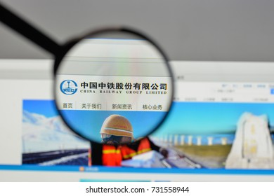 Milan, Italy - August 10, 2017: China Railway Engineering logo on the website homepage.
