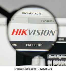 Milan, Italy - August 10, 2017: Hikvision logo on the website homepage.