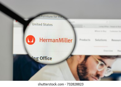 Milan, Italy - August 10, 2017: Herman Miller logo on the website homepage.