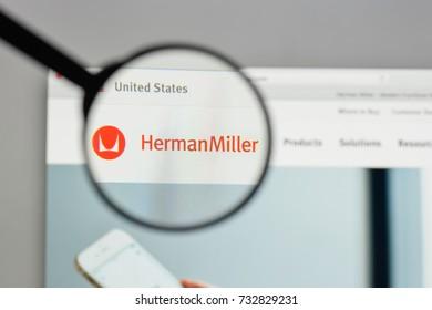 Milan, Italy - August 10, 2017: Herman Miller logo on the website homepage.