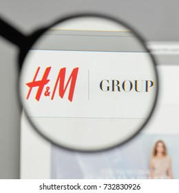 Milan, Italy - August 10, 2017: Hennes & Mauritz AB logo on the website homepage.