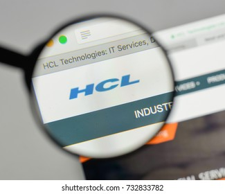 Milan, Italy - August 10, 2017: HCL Technologies logo on the website homepage.