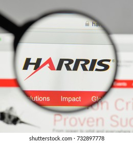Milan, Italy - August 10, 2017: Harris logo on the website homepage.