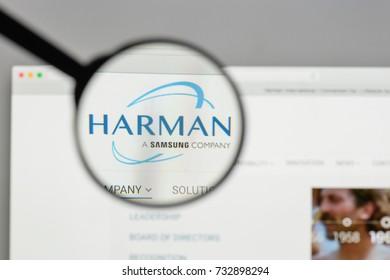 Milan, Italy - August 10, 2017: Harman International Industries logo on the website homepage.