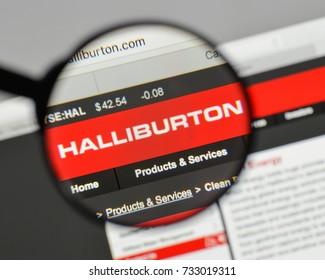 Milan, Italy - August 10, 2017: Halliburton logo on the website homepage.