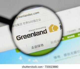 Milan, Italy - August 10, 2017: Greenland Holding Group logo on the website homepage.