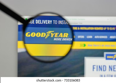 Milan, Italy - August 10, 2017: Goodyear Tire & Rubber logo on the website homepage.