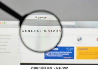 Milan, Italy - August 10, 2017: General Motors logo on the website homepage.