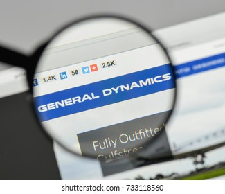 Milan, Italy - August 10, 2017: General Dynamics logo on the website homepage.