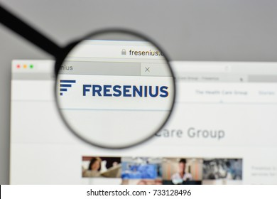 Milan, Italy - August 10, 2017: Fresenius logo on the website homepage.