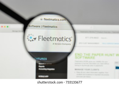 Milan, Italy - August 10, 2017: Fleetmatics Group logo on the website homepage.