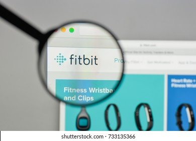 Milan, Italy - August 10, 2017: Fitbit logo on the website homepage.