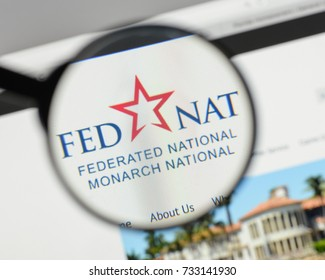 Milan, Italy - August 10, 2017: Federated National Holding logo on the website homepage.