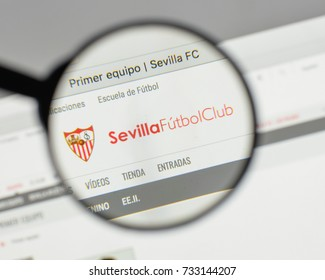Milan, Italy - August 10, 2017: FC Siviglia logo on the website homepage.
