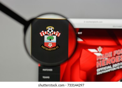 Milan, Italy - August 10, 2017: FC Southampton logo on the website homepage.