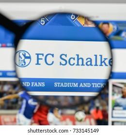 Milan, Italy - August 10, 2017: FC Schalke 04 logo on the website homepage.