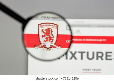 Milan, Italy - August 10, 2017: FC Middlesbrough logo on the website homepage.