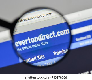 Milan, Italy - August 10, 2017: FC Everton logo on the website homepage.