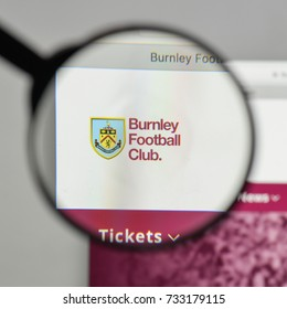 Milan, Italy - August 10, 2017: FC Burnley logo on the website homepage.