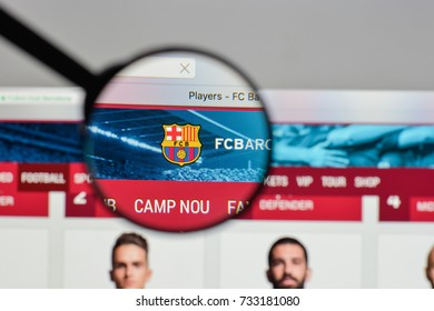 Milan, Italy - August 10, 2017: FC Barcellona logo on the website homepage.
